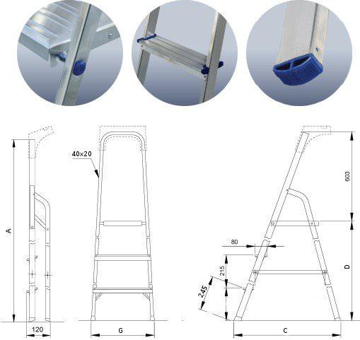 Стремянка алюминиевая ALW 402