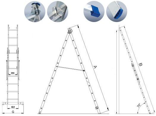 Лестница алюминиевая 2-х секционная Elkop VHR H2х12