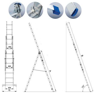 Лестница алюминиевая 3-х секционная Elkop VHR T3х7