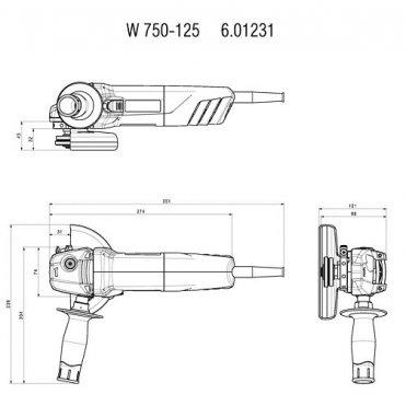 Угловая шлифмашина одноручная Metabo W 750-125
