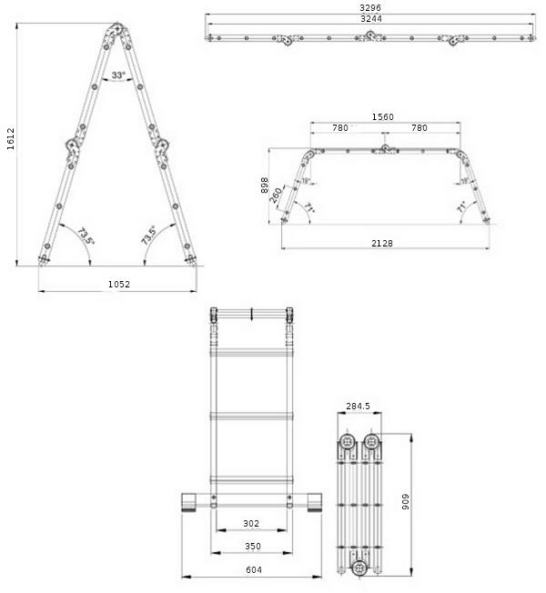 Лестница алюминиевая Elkop М4х3 с доской