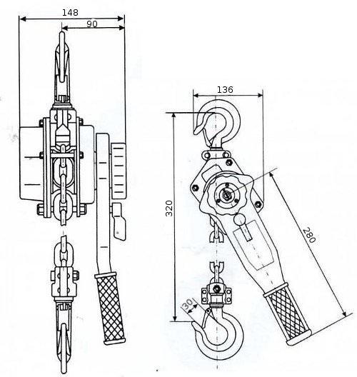 Таль ручная рычажная GART Lifting HSH-B 0.75 T
