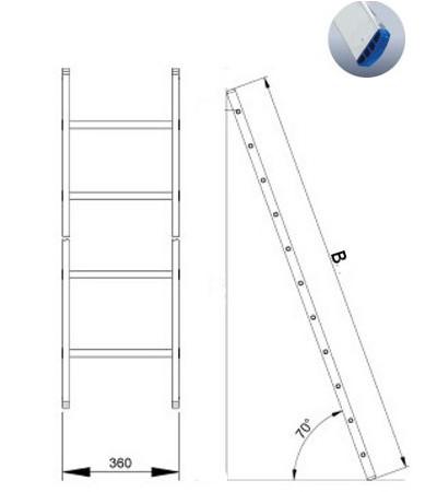 Лестница алюминиевая 1-о секционная Elkop VHR H1x 8
