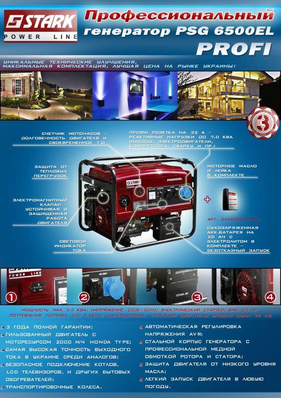 описание генератора PSG 6500 EL PROFI