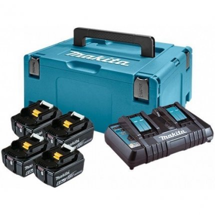 Набор аккумуляторов MAKITA LXT 198091-4 (BL1860Bx4, DC18RD, Makpac3)