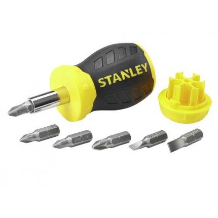 Отвертка-бочка Stanley Multibit Stubby с вставками-битами 6 шт