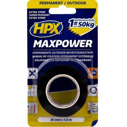 Скотч двухсторонний вспененный черный HPX HAS 3200 Maxpower 25 мм х 1,5 м