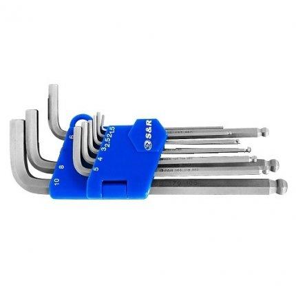 Набор шестигранных ключей S&R HX 9шт (1,5-10 мм) в пластиковой клипсе