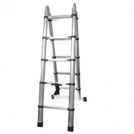 Лестница STARK STSD 55*32 (сторона 1,6м, 10 ступеней) двухсторонняя телескопическая с шарниром