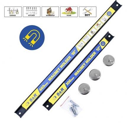 Набор магнитных держателей S&R 5шт (2 планки + 3 крючка)