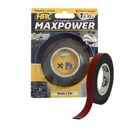 Лента двухсторонняя HPX MAXPOWER OT0902 9мм х 2м черная