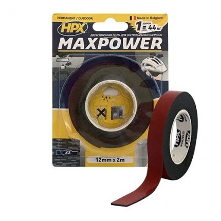 Лента двухсторонняя HPX MAXPOWER OT1202 12 мм х 2 м черная