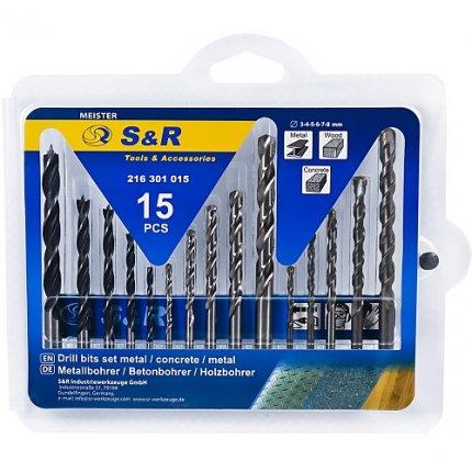 Набор сверл S&R Meister 15 шт (металл, бетон, дерево)