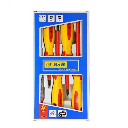 Набор диэлектрических отверток S&R 5 шт с тестером