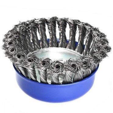 Щетка чашечная прямая S&R 100 мм, стальная плетенная проволока (136250100)
