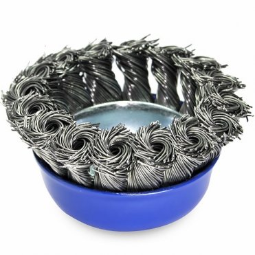 Щетка чашечная прямая S&R 65, стальная плетенная проволока (136250065)