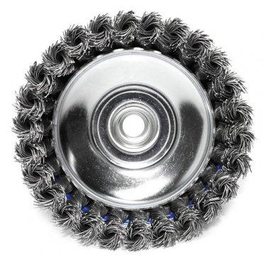 Щетка чашечная прямая S&R 125 мм, стальная плетенная проволока (136250125)