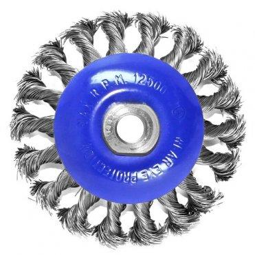 Щетка коническая S&R 100 мм, стальная плетенная проволока (136450115)