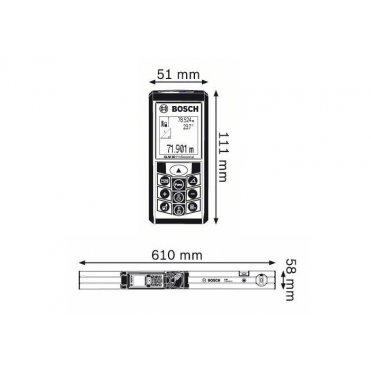 Лазерный дальномер Bosch GLM 80 + Направляющая шина Bosch R 60 (0601072301)